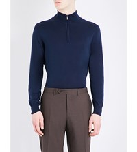Canali Zip Collar Knitted Jumper Navy