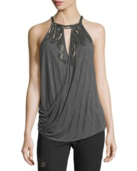 Haute Hippie Trails Sleeveless Draped Top With Embellishments Charcoal