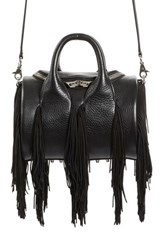 Alexander Wang Mini Rockie Fringe Leather Satchel Black