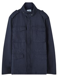 Jigsaw Cotton Linen Field Jacket Petrol