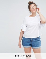 Asos Curve Crop T Shirt With Ruffle Sleeve White