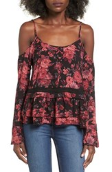 Socialite Women's Floral Print Cold Shoulder Top