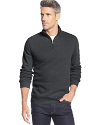 John Ashford Solid Quarter Zip Pullover Cindersmoke Heather
