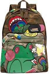 Marc Jacobs Julie Embellished Camouflage Print Cotton Twill Backpack Army Green
