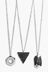 Boohoo 3 Pack Geo Charm Necklace Silver