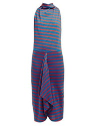 Atlein Striped Cowl Neck Cotton Midi Dress Blue Multi