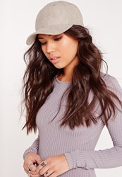 Missguided Faux Suede Baseball Cap Grey Grey