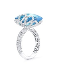 Miseno 18K White Gold Sea Leaf Topaz Diamond Ring
