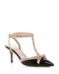 Kate Spade New York Julianna Patent T Strap Pointed Pumps Black