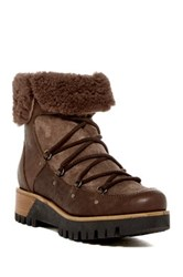 Manas Design Genuine Sheepskin Trimmed Short Platform Boot Brown