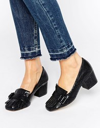 Office Monty Buckle Fringe Mid Heeled Loafers Black Snake Pu