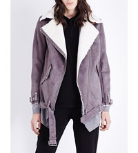 The Kooples Biker Style Faux Shearling Jacket Grey Ecru