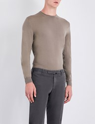 Slowear Fine Knit Wool Blend Jumper Beige