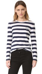 Zoe Karssen Cartoon Eyes Striped Long Sleeve Tee Optical White Peacoat