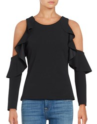 Tracy Reese Cold Shoulder Ruffle Top Black