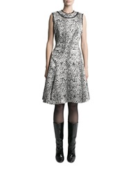Pink Tartan Printed Fit And Flare Dress Black Silver