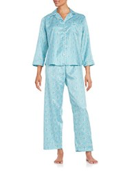 Miss Elaine Petite Damask Printed Long Sleeve Pajama Set Teal