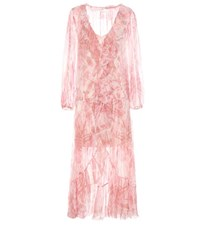 Zimmermann Winsome Ruffle Robe Silk Dress Pink