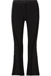 Thierry Mugler Satin Trimmed Twill Flared Pants Black