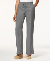 Jm Collection Drawstring Waist Linen Pants Only At Macy's Shy Grey