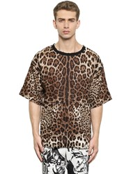 Dolce And Gabbana Leopard Printed Linen T Shirt