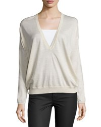 Brunello Cucinelli Wool Cashmere Deep V Sweater Light Pink