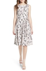 Anne Klein Leaf Print Fit And Flare Dress Parchment Oyster Shell Combo