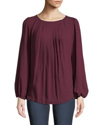 Kensie Pleated Chiffon Blouse Red