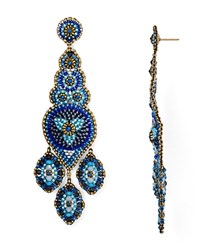 Miguel Ases Long Chandelier Beaded Drop Earrings Blue