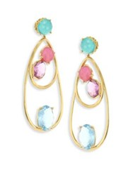 Ippolita 18K Rock Candy Semi Precious Multi Stone Drop Dangle Earrings Gold Multi