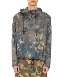 Dries Van Noten Viper Floral Print Pullover Jacket Dark Green