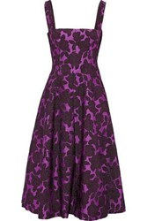 Lela Rose Woman Flared Brocade Midi Dress Violet