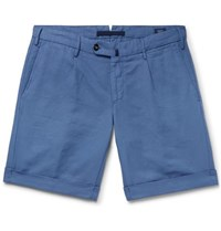 Incotex Slim Fit Garment Dyed Linen And Cotton Blend Shorts Blue