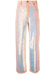 Ashish Sequin Flared Trousers Pink Purple
