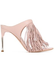Alexander Mcqueen Fringed Mules Pink