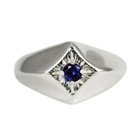 Stefanie Sheehan Jewelry Compass Star Ringsterling Silver 8 Blue Sapphire