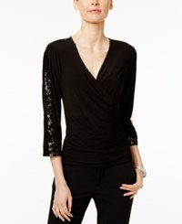 Msk Sequined Faux Wrap Top Black