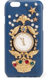 Dolce And Gabbana Crystal Embellished Croc Effect Leather Iphone 6 Case Blue