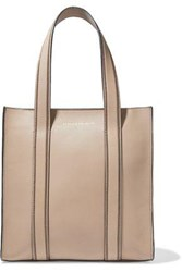 Brunello Cucinelli Woman Bead Embellished Leather Tote Neutral