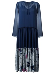 See By Chloe Pleated Skirt Peasant Dress Blue