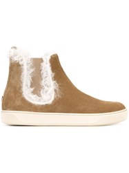 Moncler Suede Chelsea Boots Brown