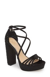 Jewel Badgley Mischka 'S Tara Crystal Embellished Platform Sandal Black Satin