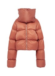 Rick Owens Funnel Neck Down Puffer Jacket Brown