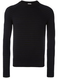 Saint Laurent Striped Crew Neck Jumper Black