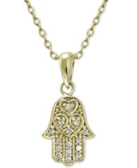Giani Bernini Cubic Zirconia Hamsa Pendant Necklace In 18K Gold Plated Sterling Silver Only At Macy's Yellow Gold