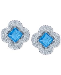Lali Jewels Blue Topaz And Sapphire 20 1 2 Ct. T.W. And Diamond 2 3 8 Ct. T.W. Clover Earrings In 14K White Gold