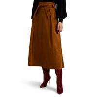 Martin Grant Suede Belted A Line Skirt Brown