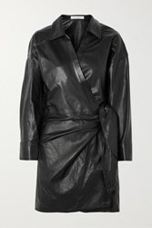 Iro Perrine Leather Wrap Dress Black