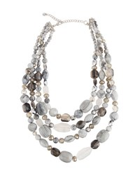 Lydell Nyc Multi Row Glass Beaded Necklace Silver