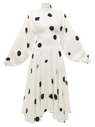 Christopher Kane Dot Print High Neck Crepe Midi Dress White Black